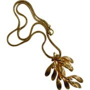 Vintage Gold-Tone Grosse Germany Knotted Rope Leaf Branch Pendent Necklace