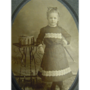Original B&W Cabinet Photograph Young Child w/ Flute