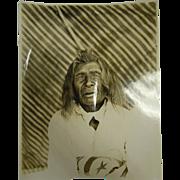 Original Antique B&W Photograph Native American Crow Man - Sharp Horn, Age 90