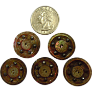 Five Awesome OLD Loose Buttons Carved Mother of Pearl Studded w/ Faceted Steel