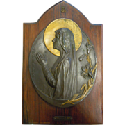 Antique Signed Souvenir Bronze Plate Wall Hanging from Lourdes France Religious Gilded Halo ..