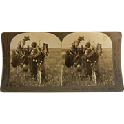 """Vintage Keystone Stereo View Card - """"Indians Talking in Sign Language"""""""