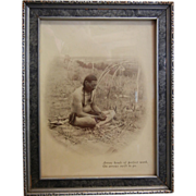 """Vintage Framed B&W Native American Photograph """"Arrow heads of perfect work, On arrows"""