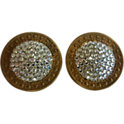 Vintage Richard Kerr Rhinestone Pave Disk Clip Earrings