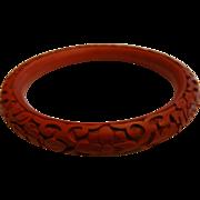 Vintage Carved Red Cinnabar Floral Design Bangle Bracelet