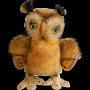 Vintage Original Steiff Stuffed Animal - Green Eyed Owl