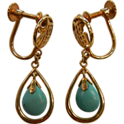 14K Gold & Natural Turquoise Chinese Screw-Back Earrings