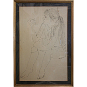 Vintage Framed Original Artist  Line Drawing Signed Blinn '59
