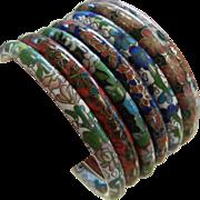 Fine Set of 7 Vintage Enameled Cloisonne Bangle Bracelets