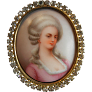 Very Fine Antique Framed & Rhinestone Decor Hand Painted Porcelain Portrait