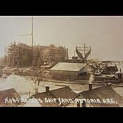 Vintage Original Photograph Postcard of Roger's Shipyard in Astoria, Oregon