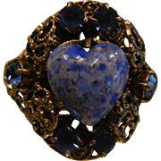 Vintage Adjustable Brass Ring w/ Blue Rhinestones & Glass Heart