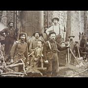 "Vintage Original B&W Photograph by Gillet - Loggers & Horse ""Papa"""