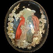 Antique Devotional Mary Joseph & Baby Jesus Picture