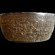 Antique Signed  KHEANG T.999 Silver Bowl w/ Siam Emperor Motif