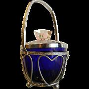 Vintage Cobalt Blue Glass Jelly Dish w/ Silver-Tone Lucite Lid & Basket