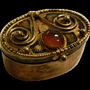 Vintage Gilded Israel 925 Box w/ Banded Agate
