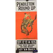 Vintage Original Poster Copyright 1925 Pendleton Round Up Oregon