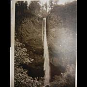 Vintage Original B&W Photo Postcard of Latourelle Falls Columbia River, Oregon