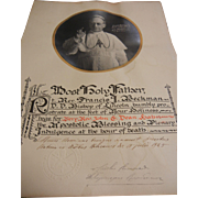 Certificate Prayer Blessing From Pope Pius MCMXXV