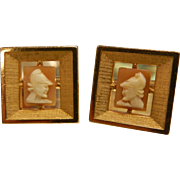 Vintage Swank Signed Gold-Tone Cuff Links w/ Miniature Cameo