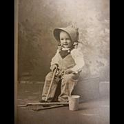 Vintage Original B&W A. Renaas Cabinet Photograph of Child & Farming Tools