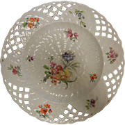 Royal Berlin German Porcelain Plate w/ Hand Painted Flowers & Reticulated Edges