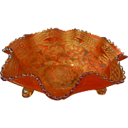 Vintage Iridescent Marigold Carnival Glass Bowl