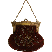 Vintage Burgundy Velvet Handbag w/ Cut Steel Bead Embroidery