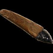 Primitive Bone & Obsidian Arrowhead Hand Tool