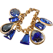 Vintage Gold-Tone Chain Bracelet w/ Blue Faceted Glass Charms