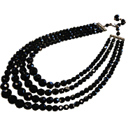 Vintage Multi-Layer Choker Necklace w/ Faceted Black Glass Beads