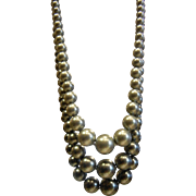 Vintage Three-Tone Faux-Pearl Bead Necklace