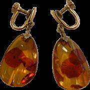 12K Gold Filled Screw-Back Earrings w/ Natural Polished Amber