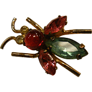 Vintage CORO Plated Sterling Rhinestone Bug Brooch