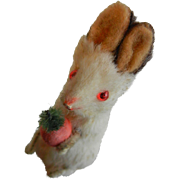 Vintage Original Fur Toys Bunny w/ Carrot - Made in West Germany