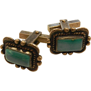 Vintage Sterling Silver Cuff Links w/ Turquoise