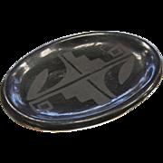 Vintage Black Ware Glazed Miniature Pottery Plate - Signed Susana