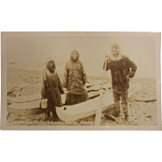 Original Vintage B&W Photograph Postcard - Far Northern Eskimo Family, Alaska