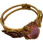 Large Vintage Gold Tone Pink Purple Rhinestone Clamp Style Cuff