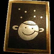 Vintage C.C. Hermann 925 Sterling Silver Moon Face & Star  Brooch/Pin
