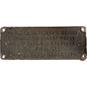 Original VINTAGE 1964 Chicago, Burlington & Quincy ID TRAIN PLAQUE