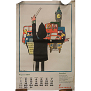 Vintage Tomi Ungerer Artwork Poster w/ August 1971 Calendar Air India Advertising