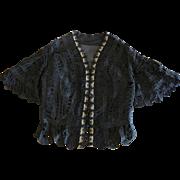 Fine  Victorian Bustle Silhouette Black Lace Jacket