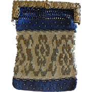 Antique  Crochet Purse w/ Steel Bead Designs