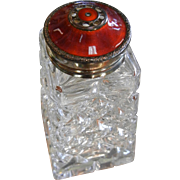 Fine Old Cut Crystal Sugar Shaker w/ Norwegian Hallmarked Red Enameled Sterling Silver Lid