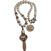 Very Unique Pearl & Amethyst Bead Necklace w/ Sterling Silver Pendant