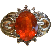 Fine 14K Gold Ring w/ Natural Mexican Fire Opal & Diamonds