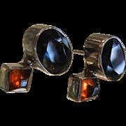 LB Sterling Silver Stud Earrings w/ Natural Quartz Stones