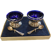 Pair of Sterling Silver & Cobalt Blue Glass Salt Dishes & Spoons